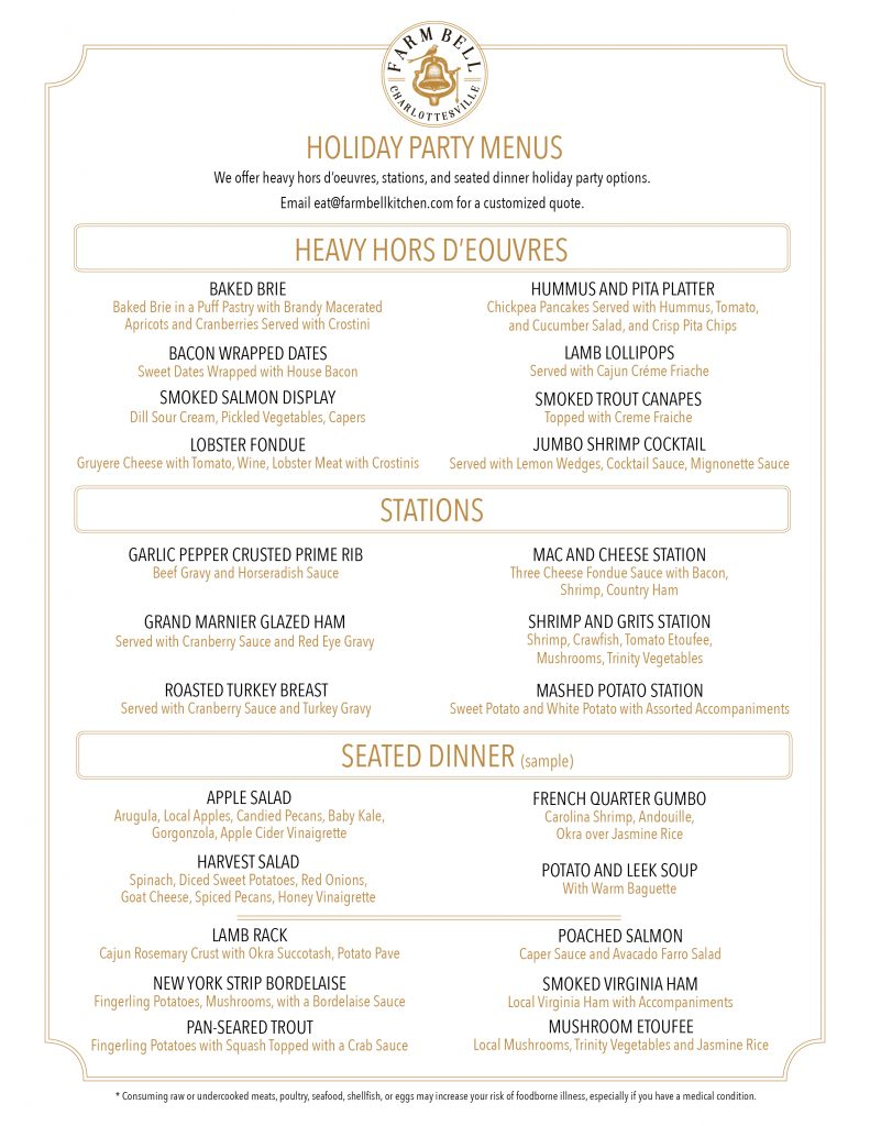 Holiday Party Menu Farm Bell Kitchen